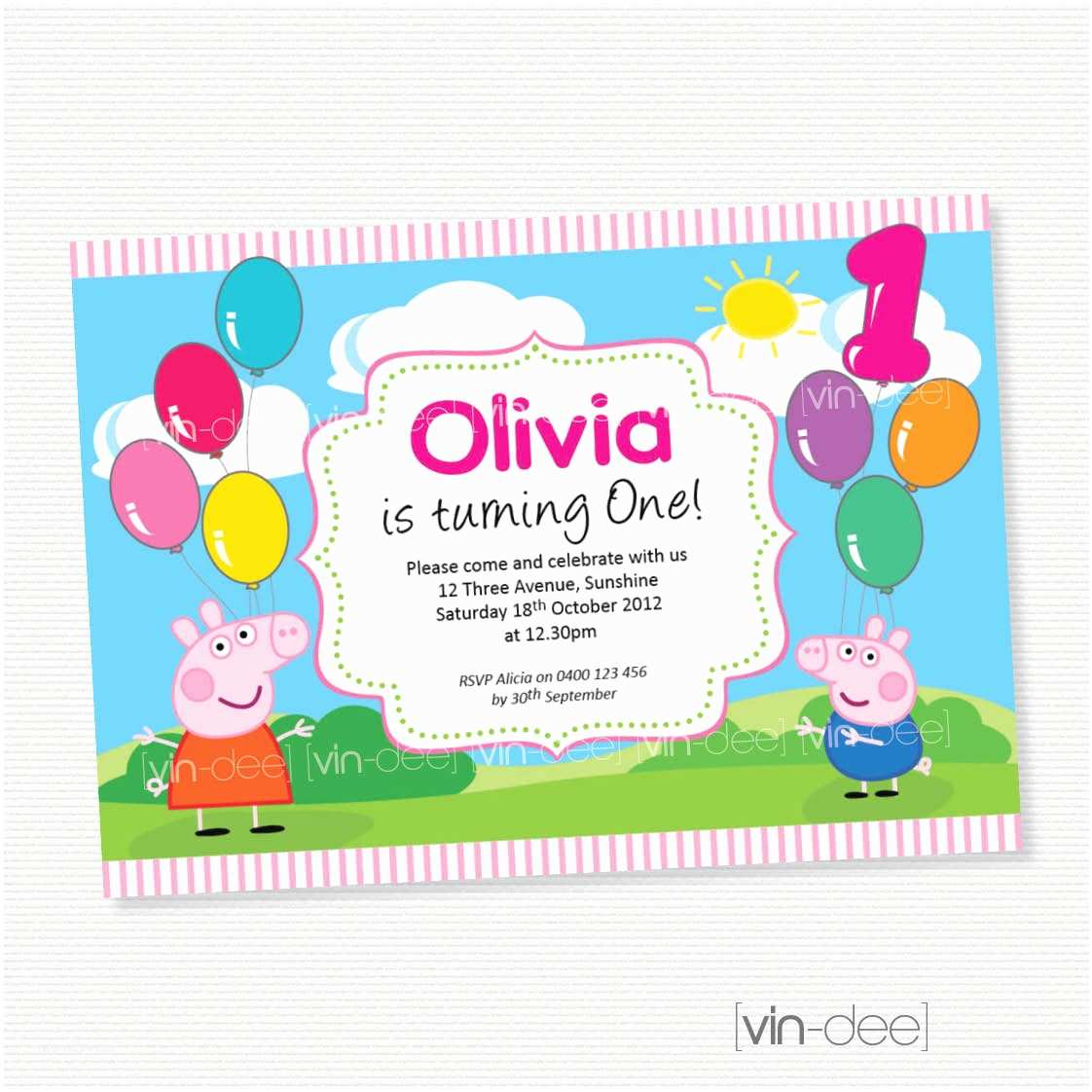 Peppa Pig Birthday Invitations Peppa Pig Balloons Birthday Invitation Diy Printables