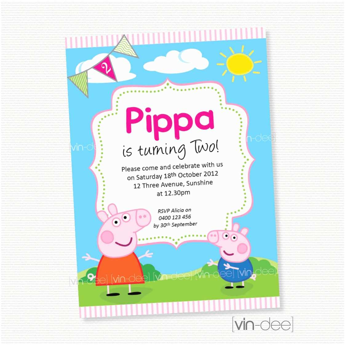 Peppa Pig Birthday Invitations Peppa Pig Birthday Invitation Diy