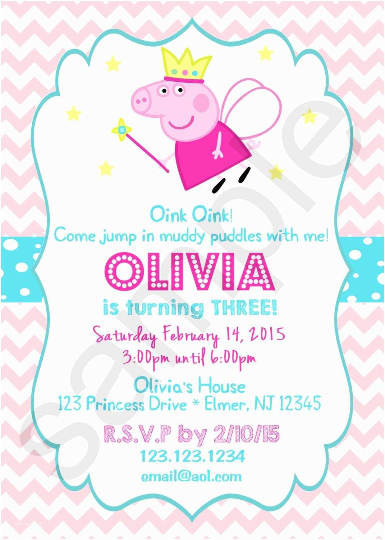 Peppa Pig Birthday Invitations Peppa Pig Princess Birthday Invitation Digital File On