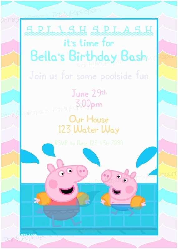 Peppa Pig Birthday Invitations Peppa Pig Printable Birthday Invitation