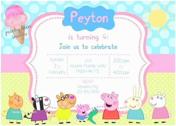 Peppa Pig Party Invitations 43 Best Birthday Invitations Peachykeeninvites Images