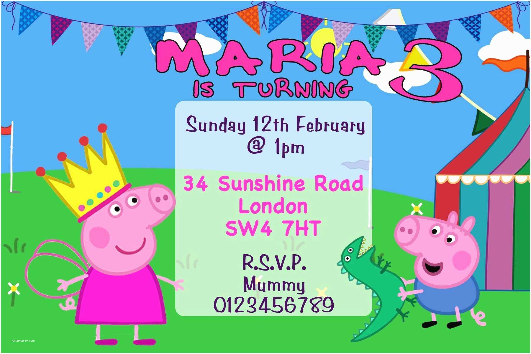 Peppa Pig Party Invitations Birthday Invitation Template