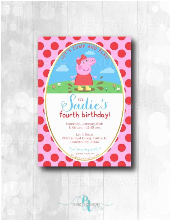 Peppa Pig Party Invitations Peppa Pig Inspired Party Invitation Peppa Pig Birthday