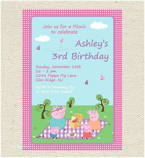Peppa Pig Party Invitations Peppa Pig Picnic Birthday Invitation Printable