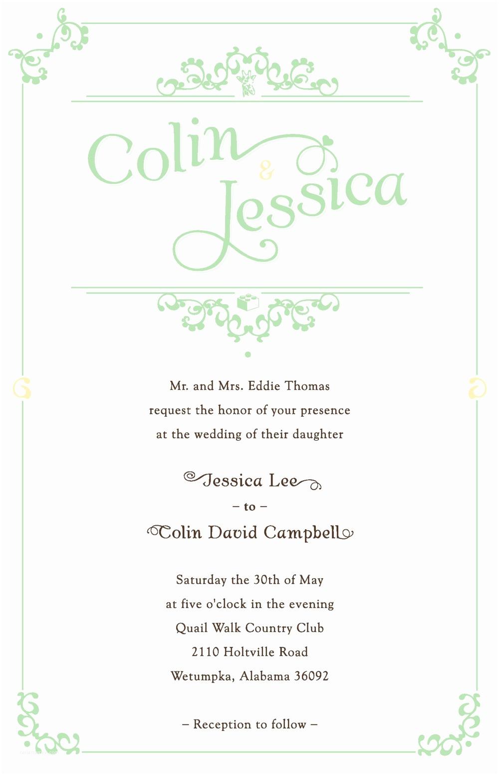 Personal Wedding Invitation Campbell Design Shop