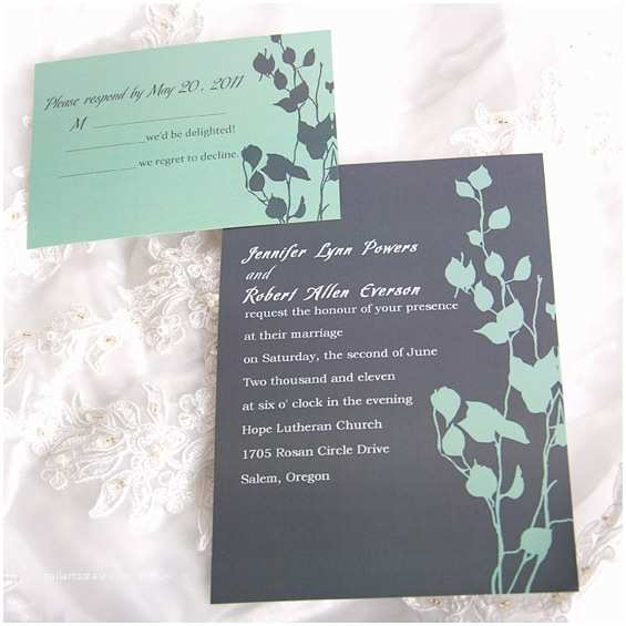Personal Wedding Invitation Personalized Rustic Vintage Lovely Leaves Wedding Card