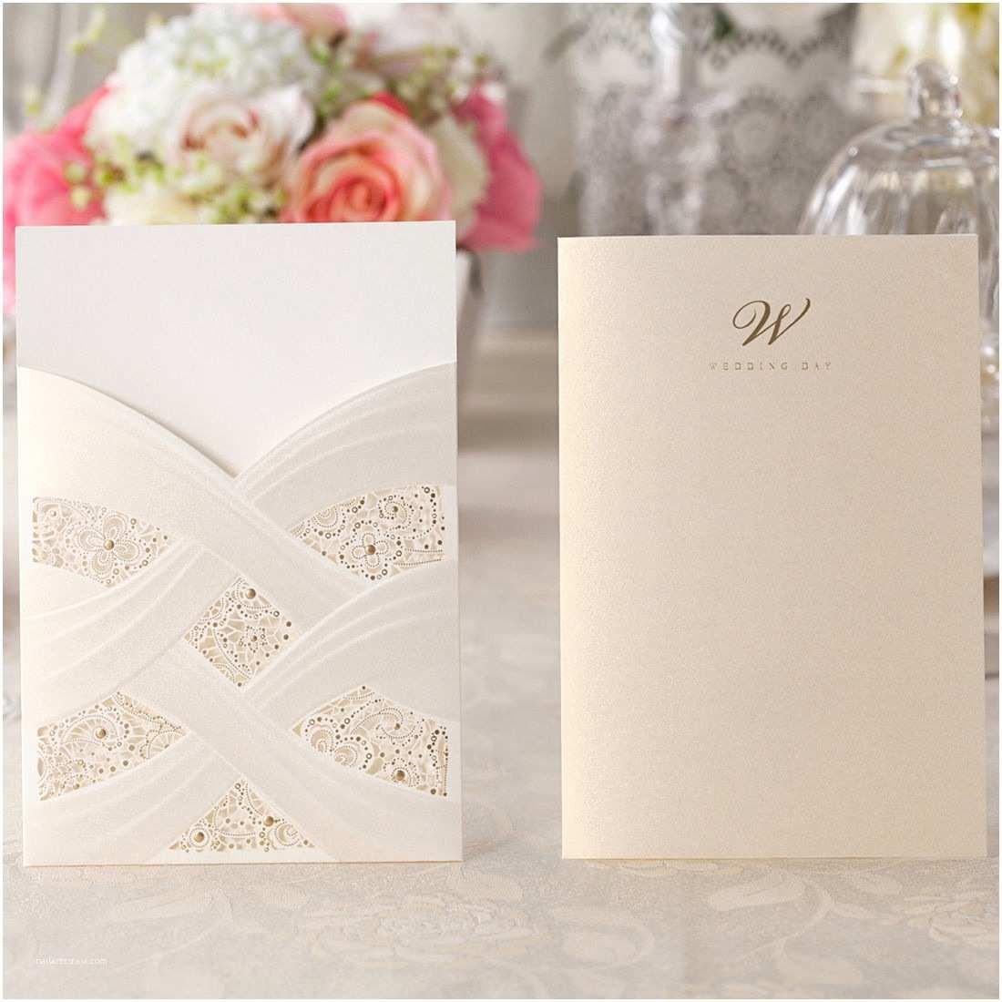 Personal Wedding Invitation Pocket Wedding Invitation Card Kit Cw060 with Envelope
