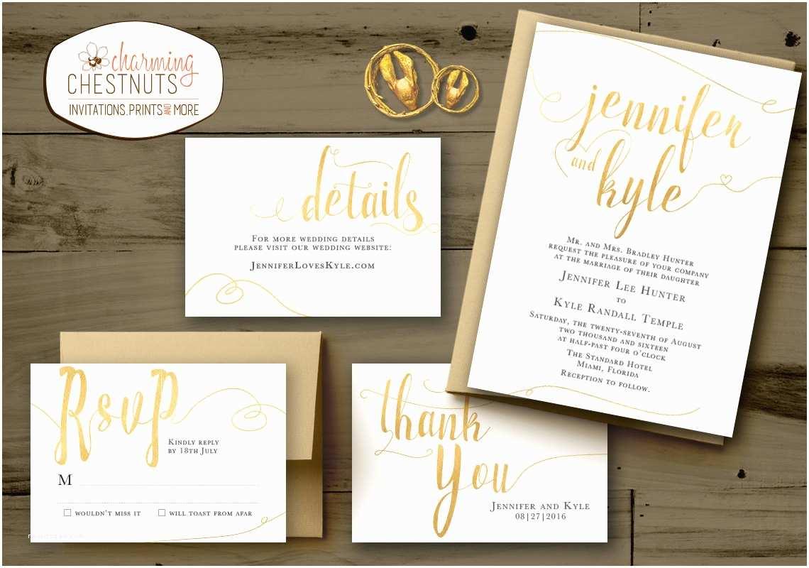 Personal Wedding Invitation White and Gold Wedding Invitations Set Classic Gold