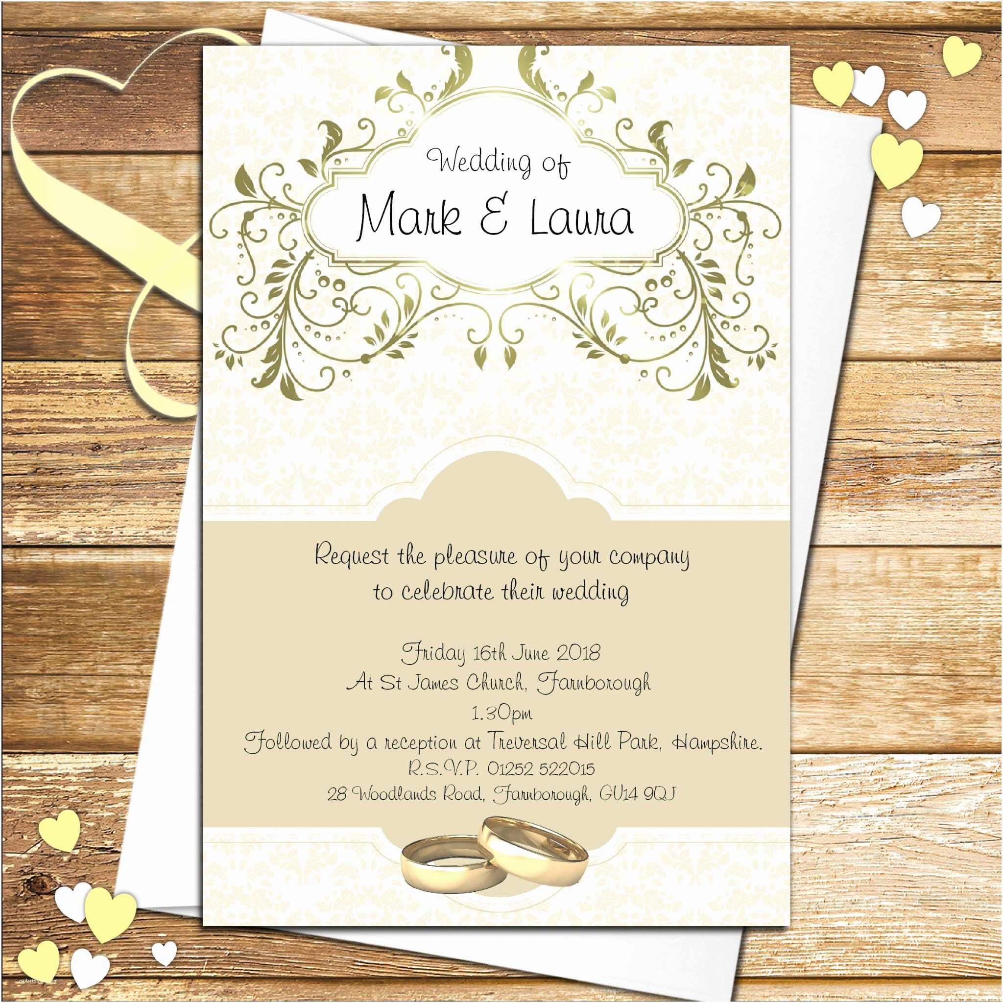 Personalised Wedding Invitations 10 Personalised Gold Wedding Invitations N56