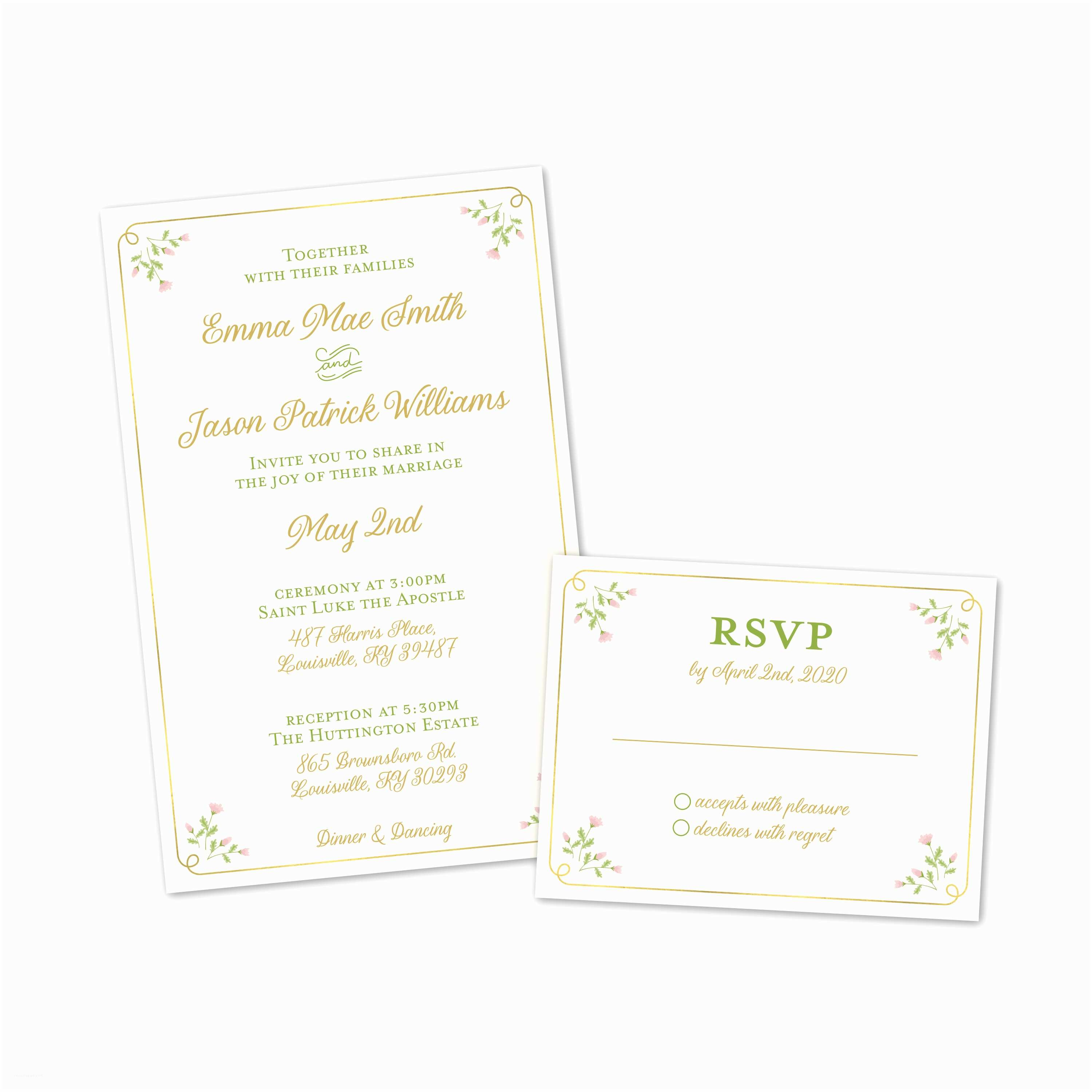 sweet floral personalized wedding invitations with reponse cards