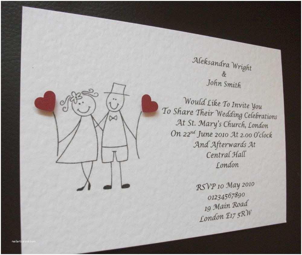Personalised Wedding Invitations Uk 50 Personalised Wedding Invitations Bride&groom