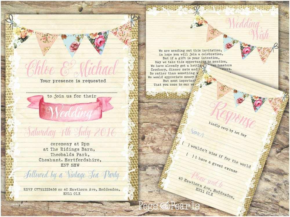 Personalised Wedding Invitations Uk Personalised Burlap & Bunting & Lace Wedding Invitations