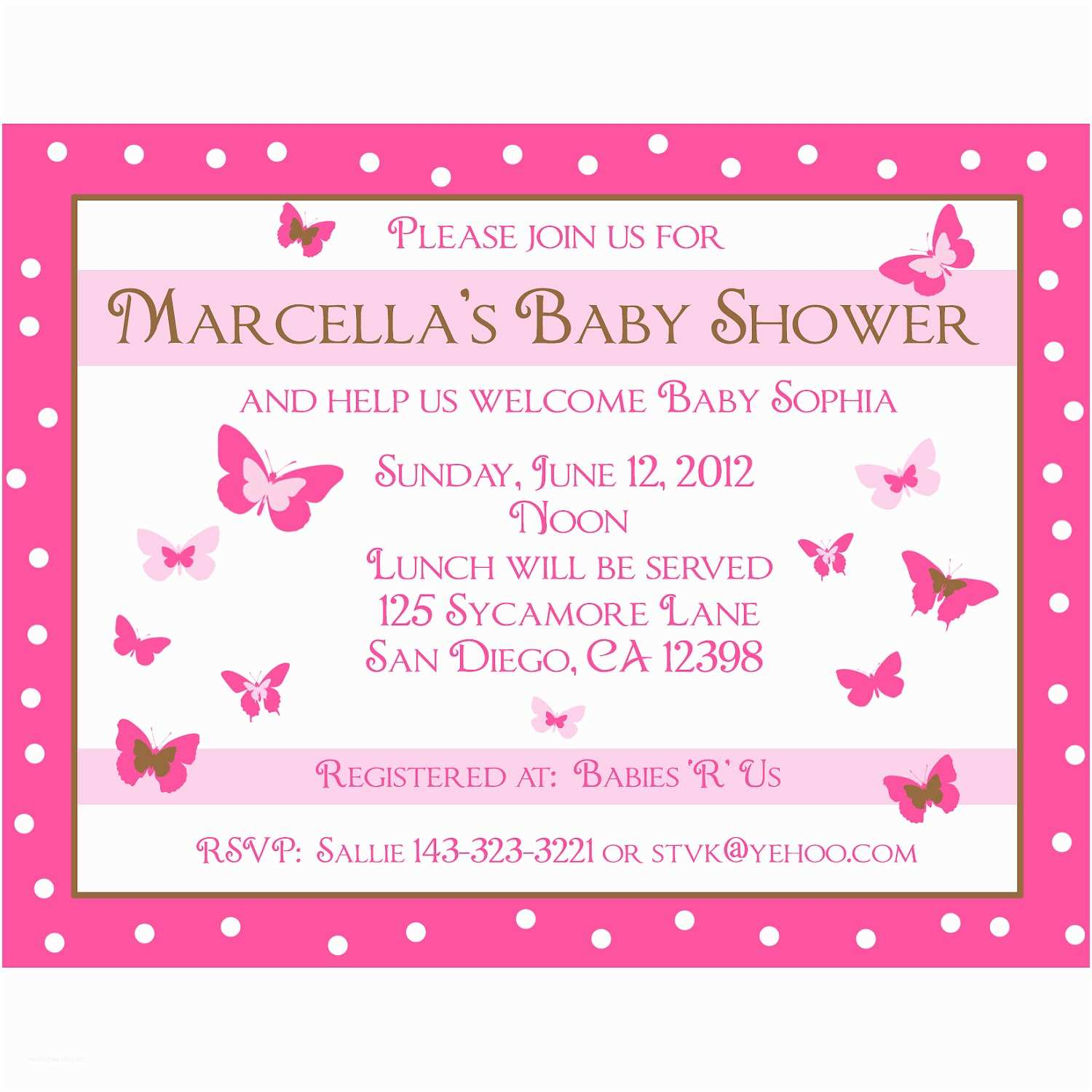 Personalized Baby Shower Invitations 20 Personalized Baby Shower Invitations Pink butterfly