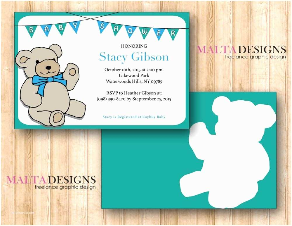 Personalized Baby Shower Invitations Custom Baby Shower Invitation Printable Teddy Bear 1