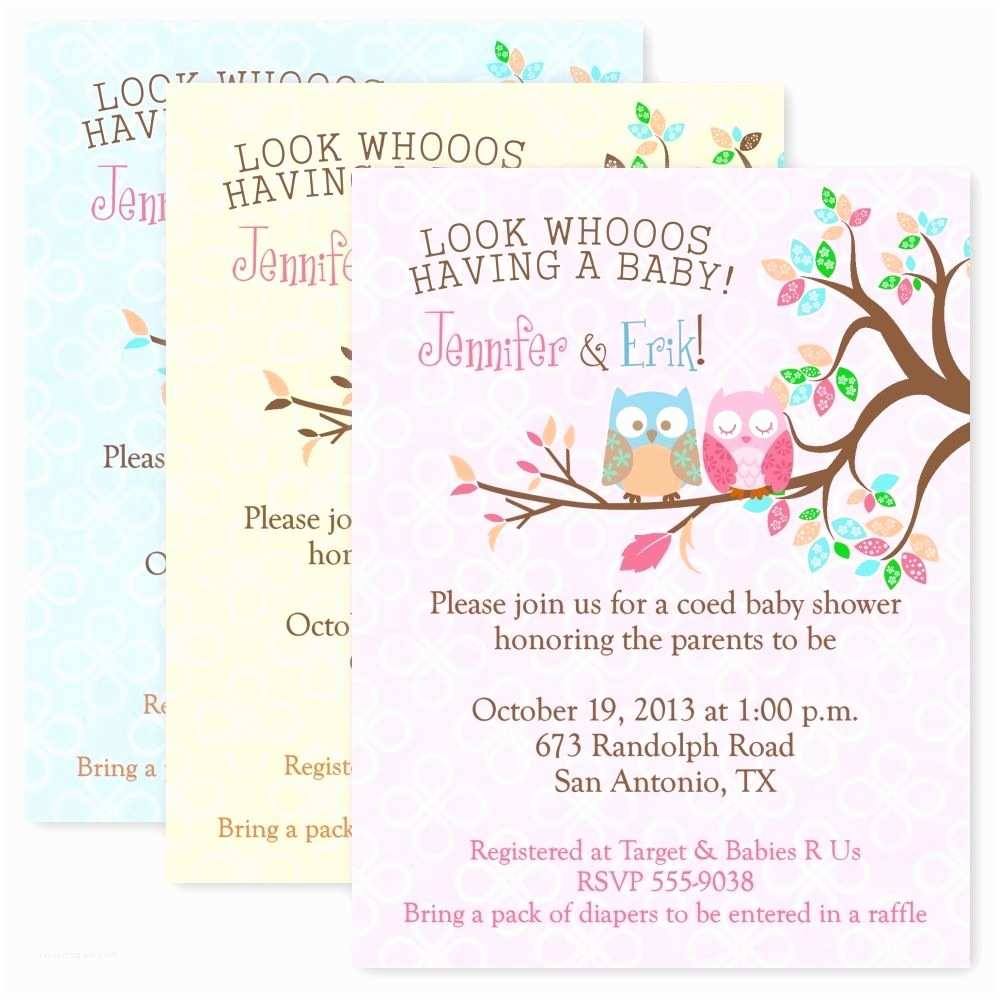 Personalized Baby Shower Invitations Owl Baby Shower Party Invitations Custom Personalized