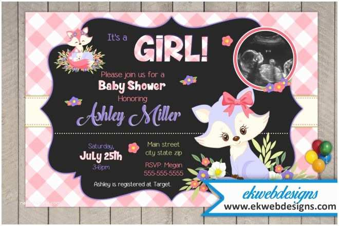 Personalized Baby Shower Invitations Woodland Fox It S A Girl Baby Shower Invitations