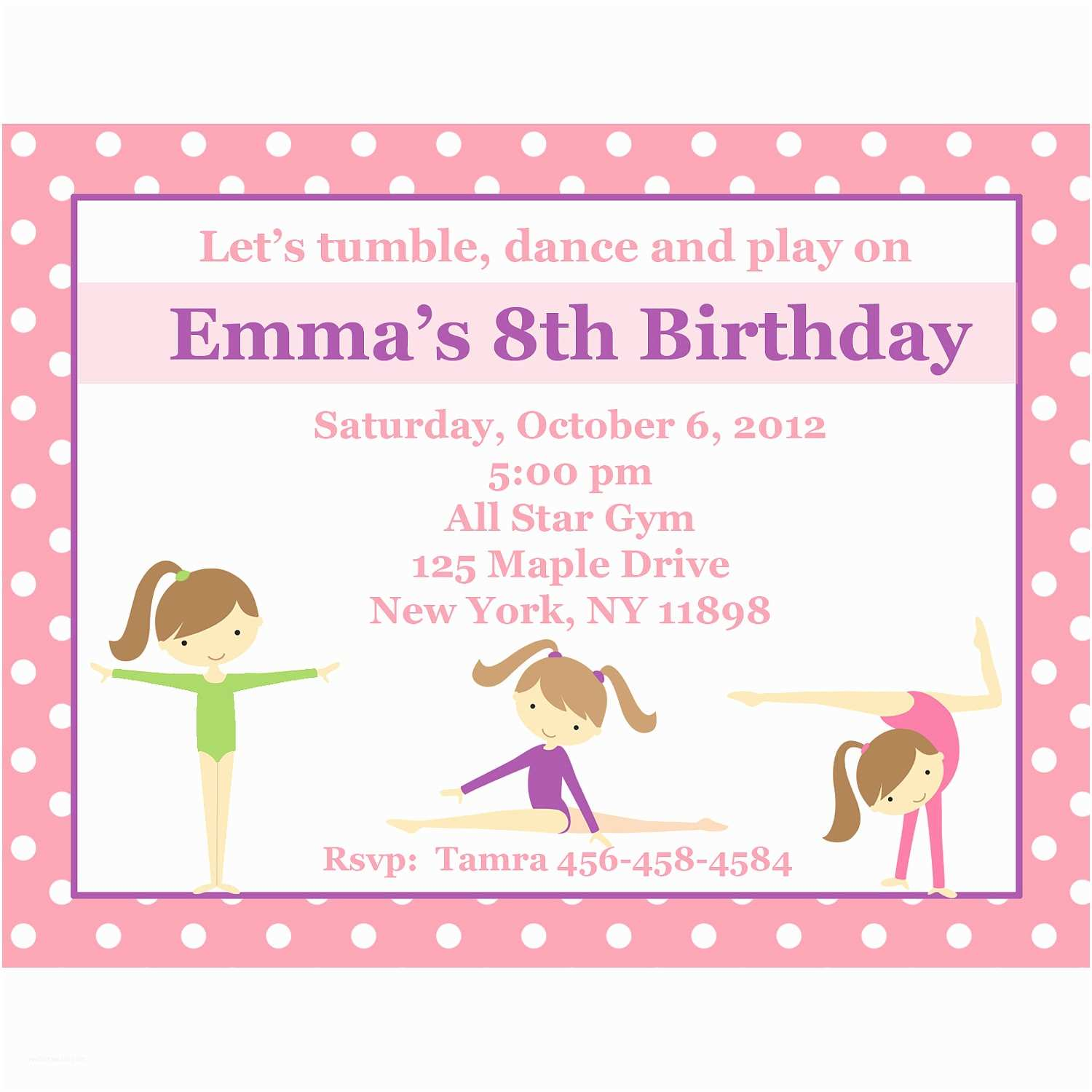 Personalized Birthday Invitations 20 Personalized Birthday Invitations Pink Gymnastics