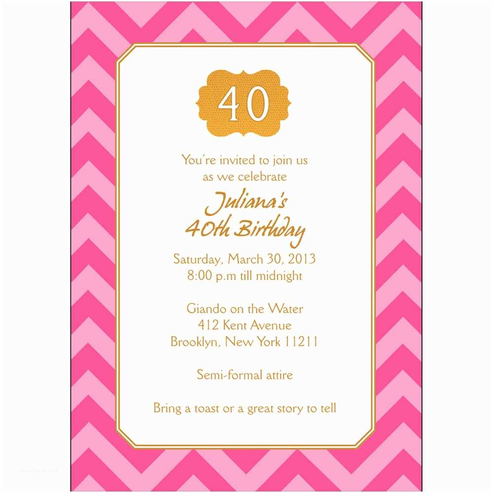 Personalized Birthday Invitations 25 Personalized 40th Birthday Party Invitations Bp 044