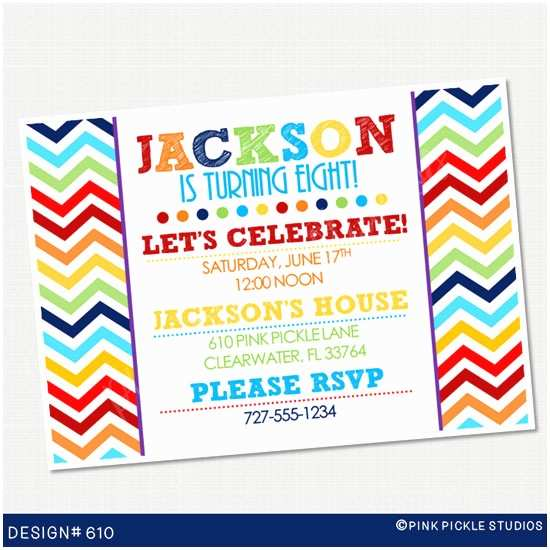 Personalized Birthday Invitations Chevron Rainbow Boy Personalized Party Invitation