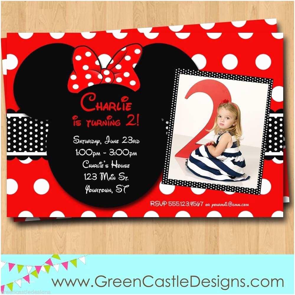 Personalized Birthday Invitations Customized Minnie Mouse Birthday Invitations