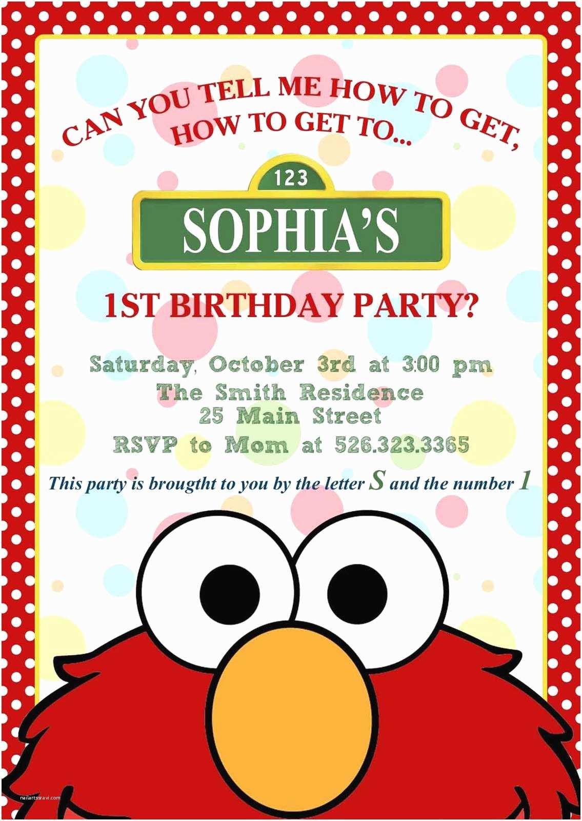 Personalized Birthday Invitations Elmo Invitation