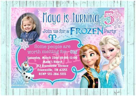 Personalized Birthday Invitations Items Similar to Frozen Birthday Invitation Custom