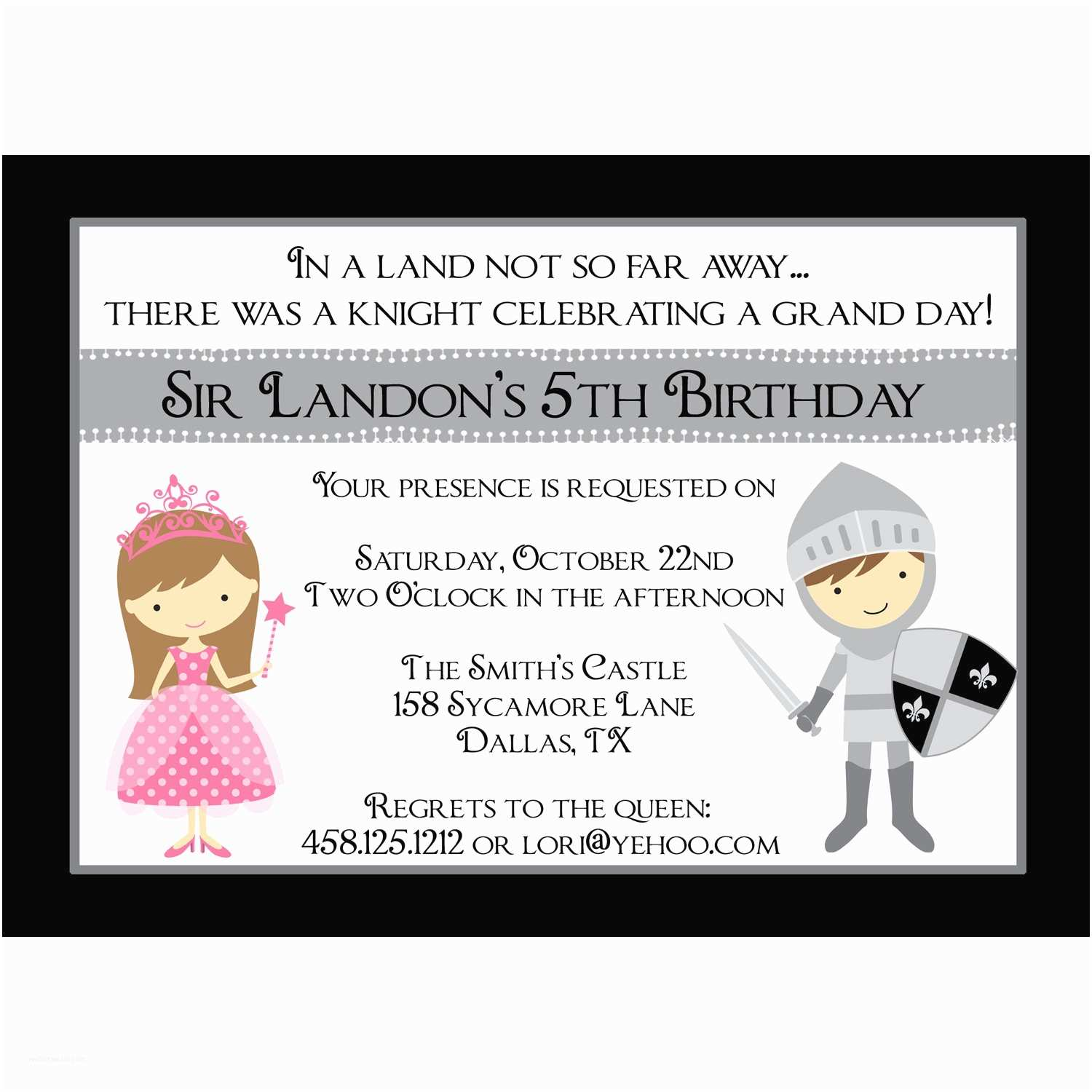 Personalized Birthday Invitations Knight & Princess Personalized Birthday Invitation Digital