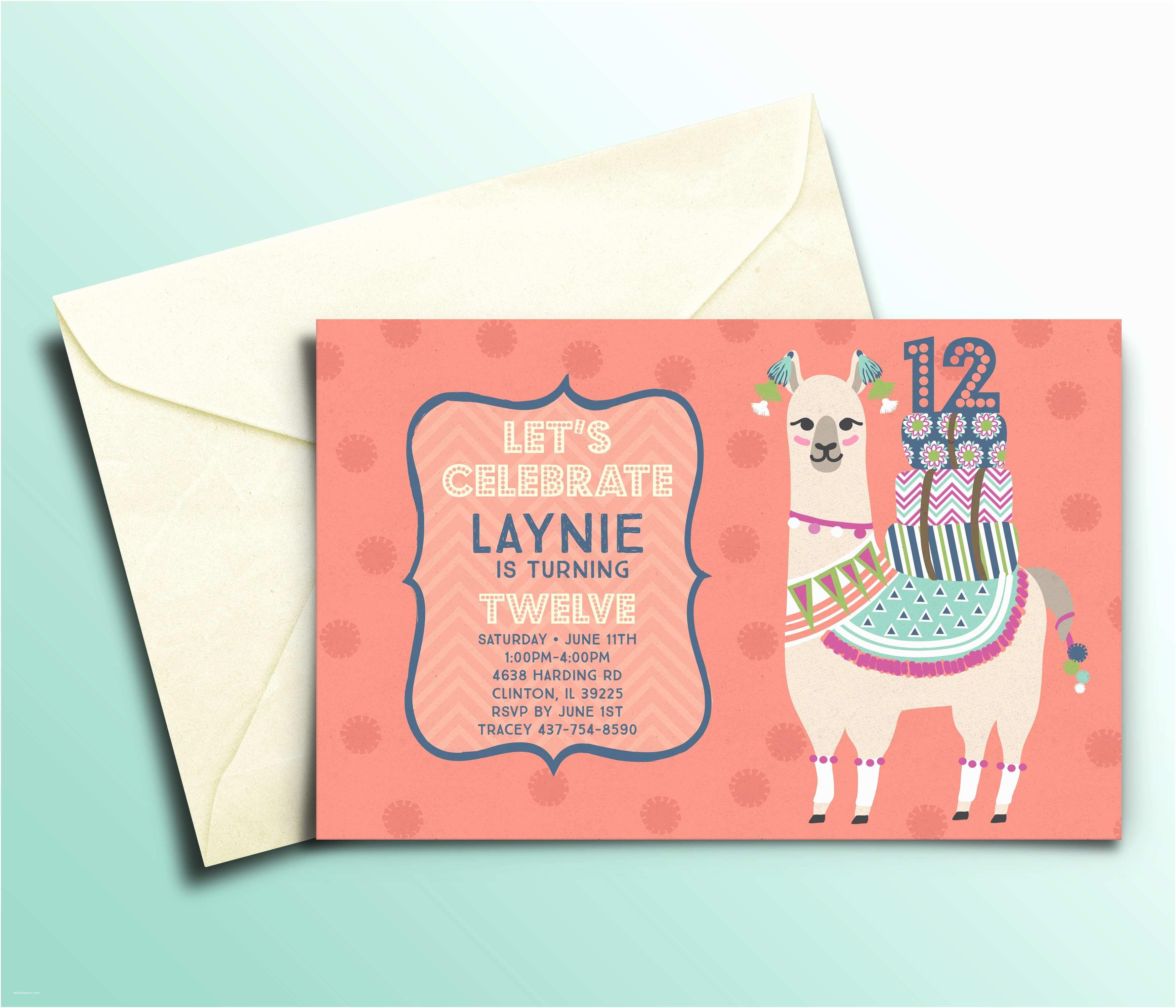 Personalized Birthday Invitations Llama Personalized Kids Birthday Party Invitations – Bella Bug