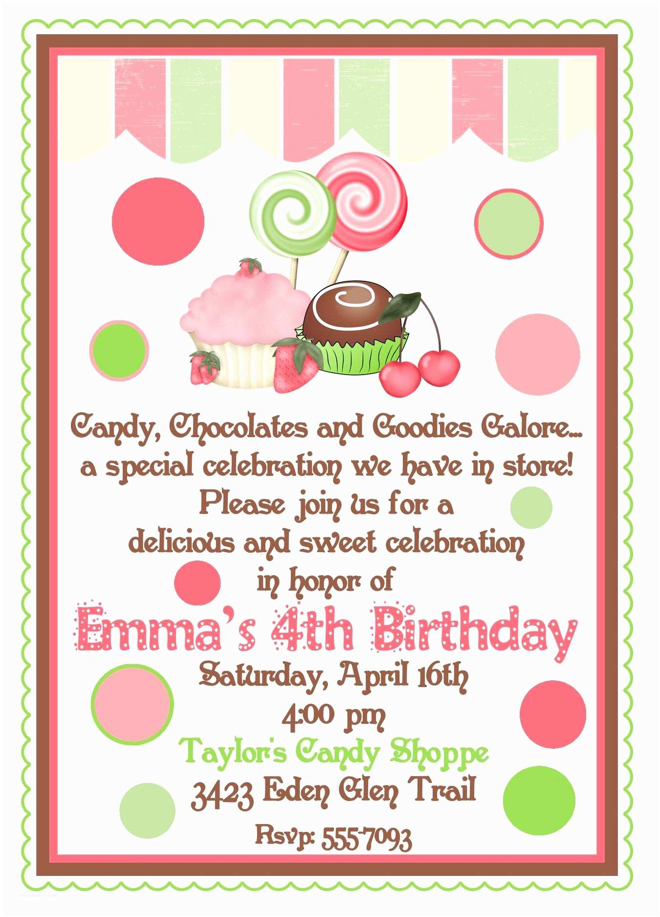 Personalized Birthday Invitations Personalized Birthday Invitations Candy Shoppechocolate
