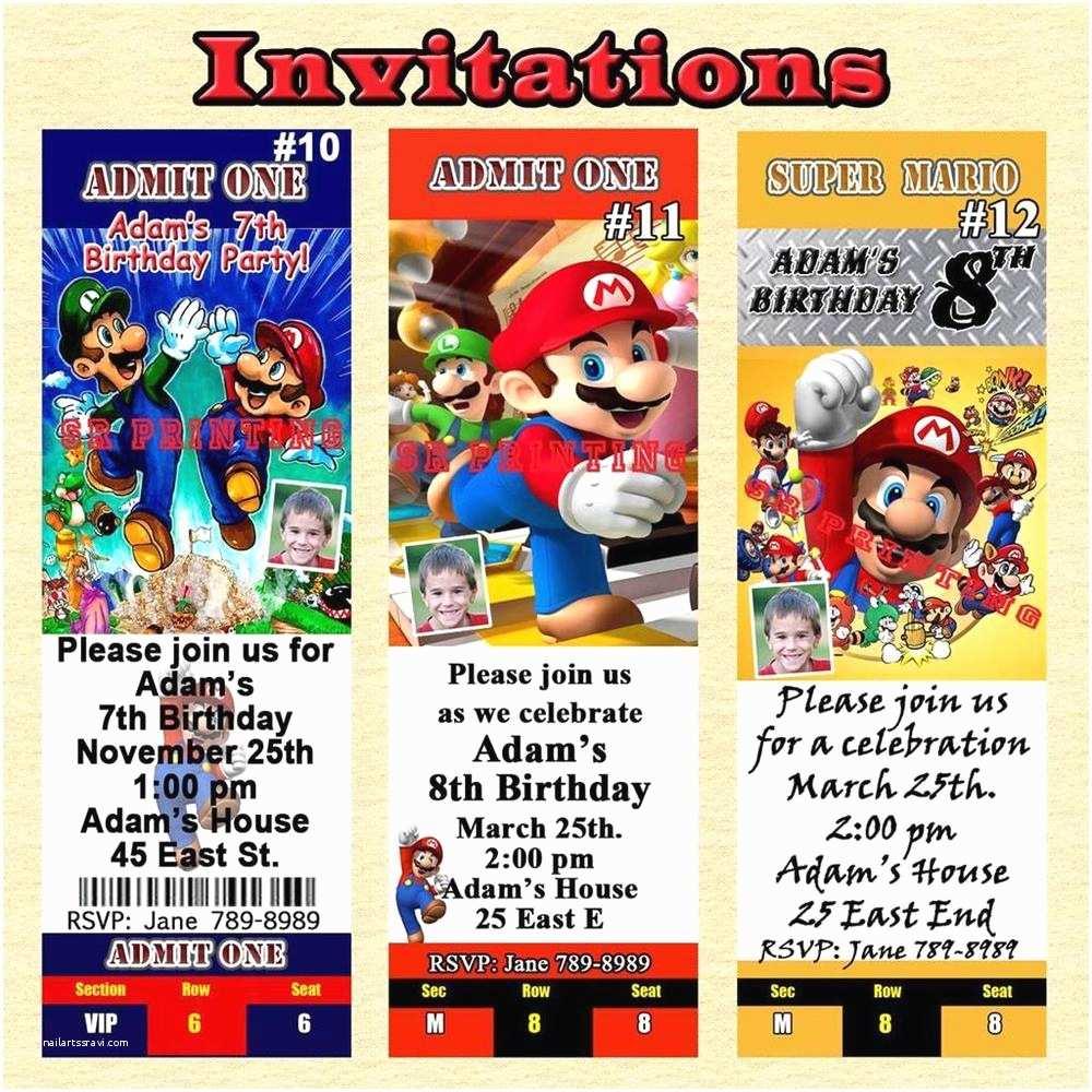 Personalized Birthday Invitations Super Mario Brothers Birthday Invitations & More