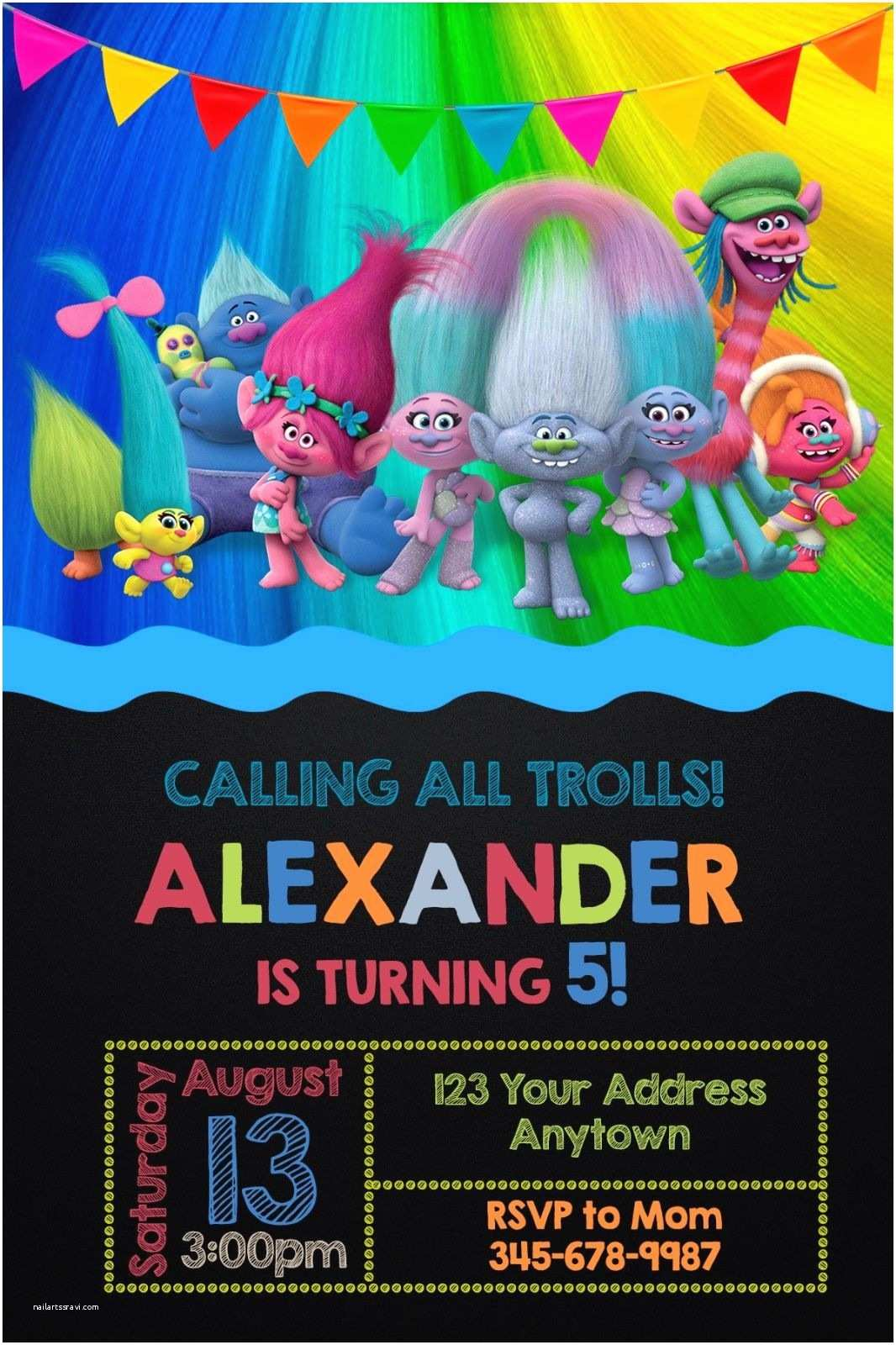 Personalized Birthday Invitations Trolls Birthday Party Invitations Personalized You Print