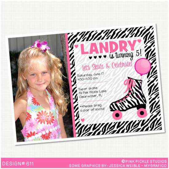 Personalized Birthday Invitations Zebra Roller Skating Personalized Party Invitation