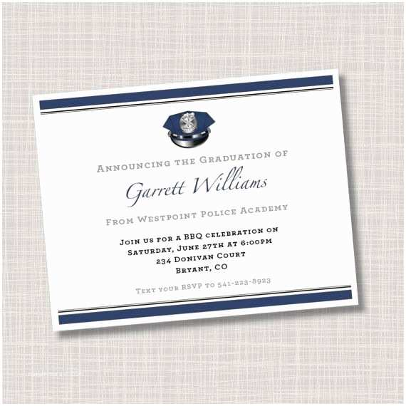 Personalized Graduation Invitations Custom Police Academy Graduation Announcements Invitations
