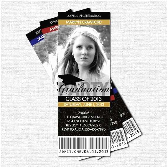 Personalized Graduation Invitations Graduation Party Ticket Invitations or Announcement
