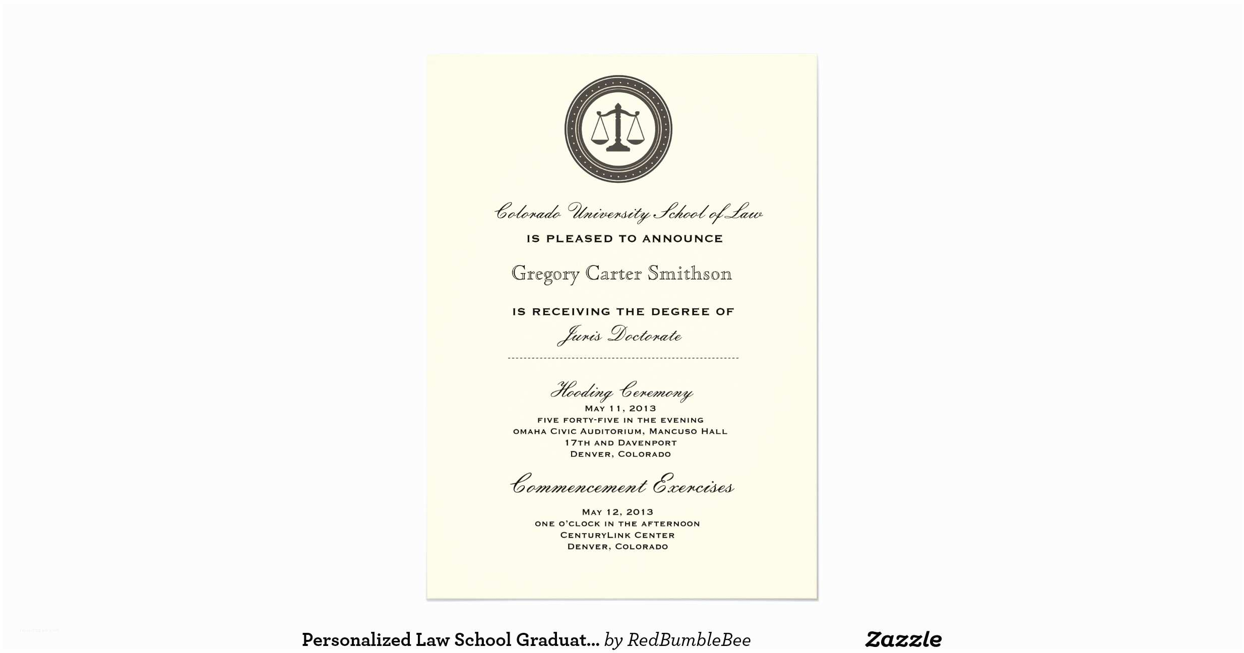 Personalized Graduation Invitations Personalized Law School Graduation Announcements