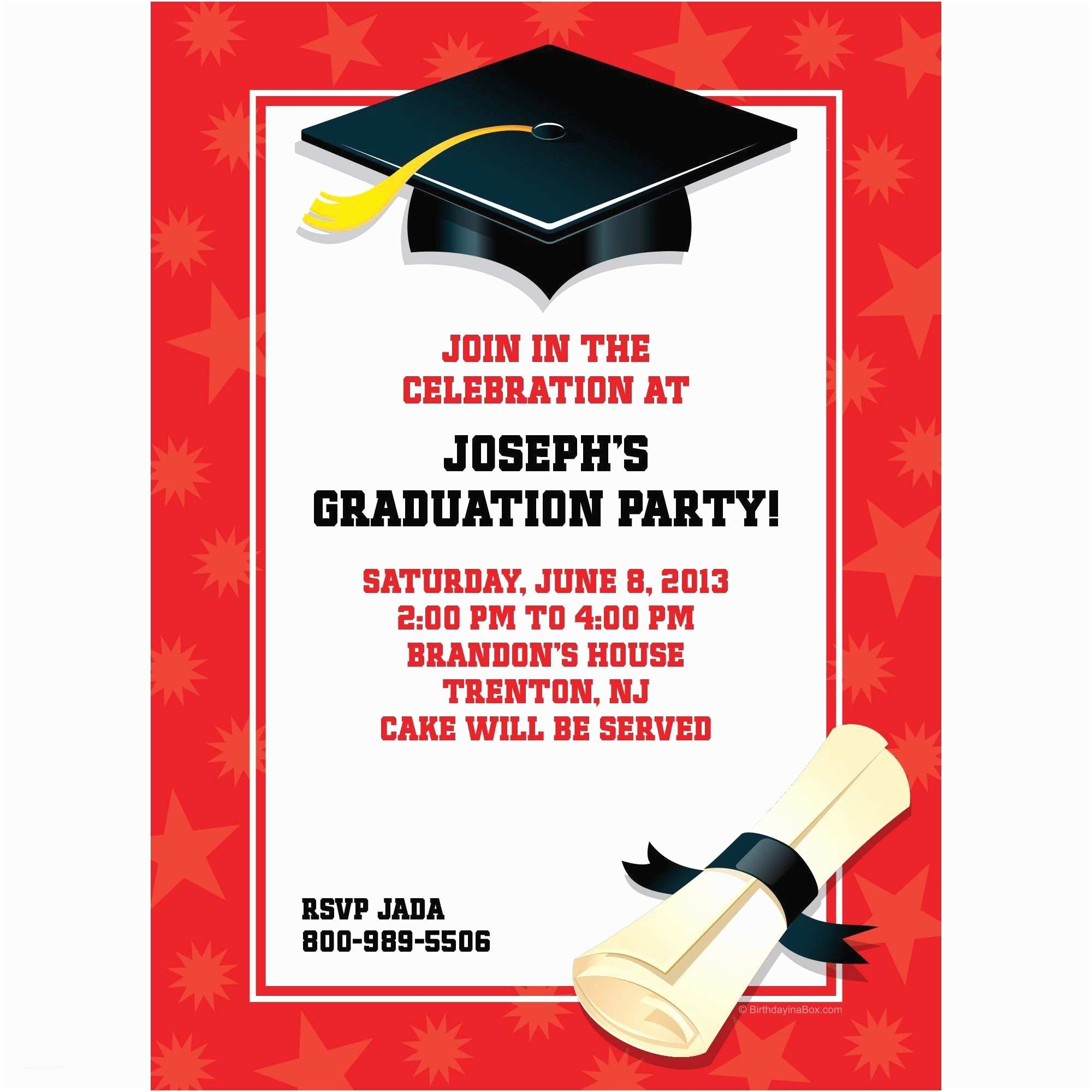 Personalized Graduation Invitations Red Graduation Personalized Invitation Each Low Priced