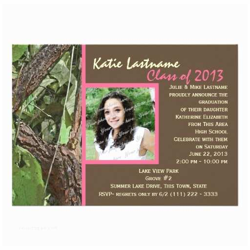 Personalized Graduation Invitations Woodland Tree Graduation Personalized Invitations