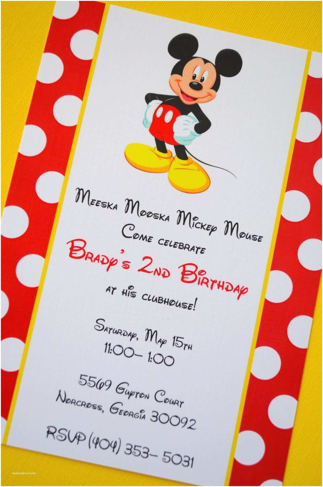 Personalized Mickey Mouse Birthday Invitations Joel S 3rd B Day Time to Mickey Mousekercise On