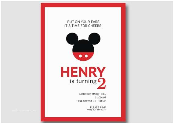 Personalized Mickey Mouse Birthday Invitations Mickey Mouse Birthday Invitation Custom Diy Printable