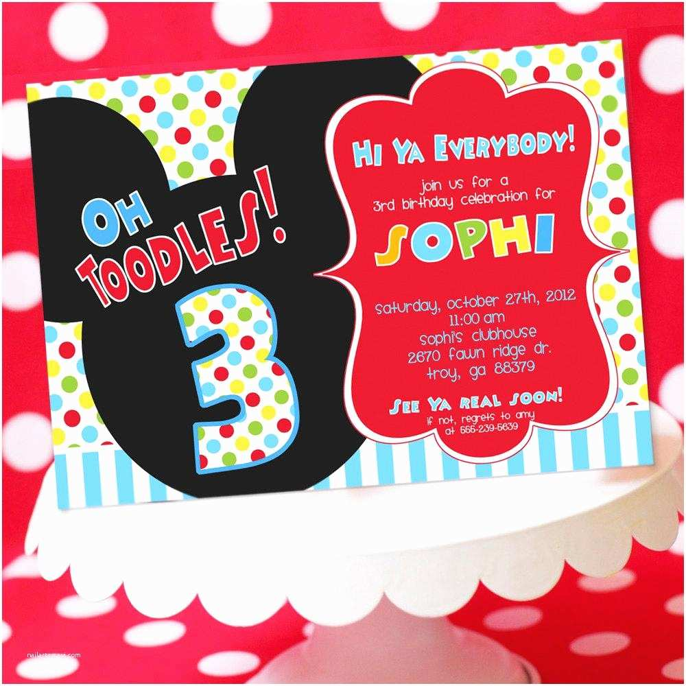 Personalized Mickey Mouse Birthday Invitations Clubhouse Invitation