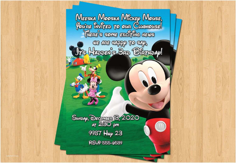 Personalized Mickey Mouse Birthday Invitations Mickey Mouse Clubhouse Birthday Party Personalized Invitation