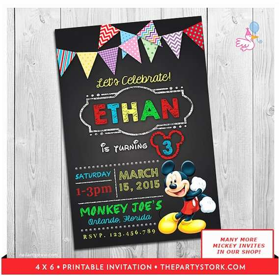 Personalized Mickey Mouse Birthday Invitations Mickey Mouse Clubhouse Invitations Printable Personalized