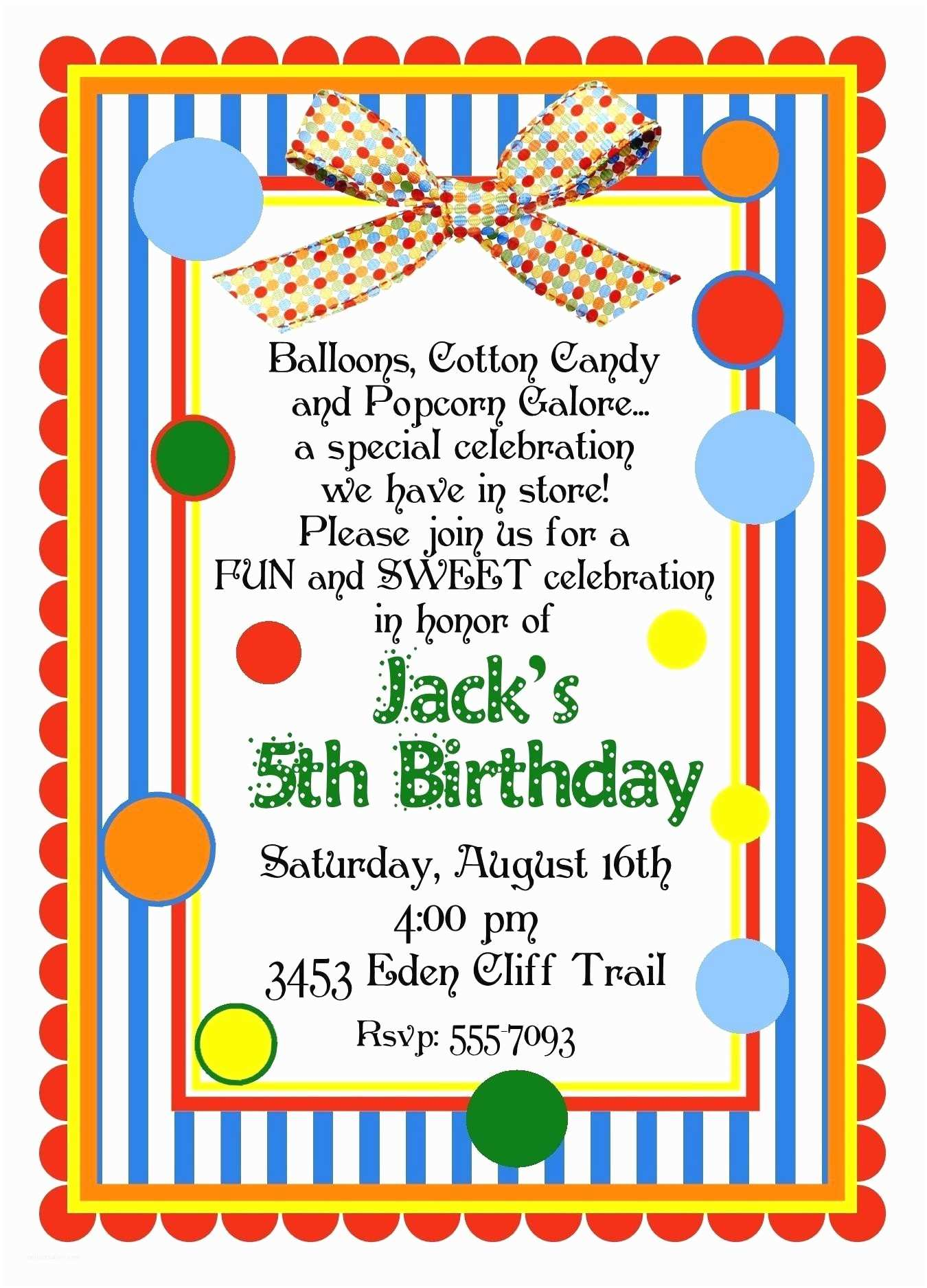 Personalized Party Invitations Personalized Invitations Circus Carnival by
