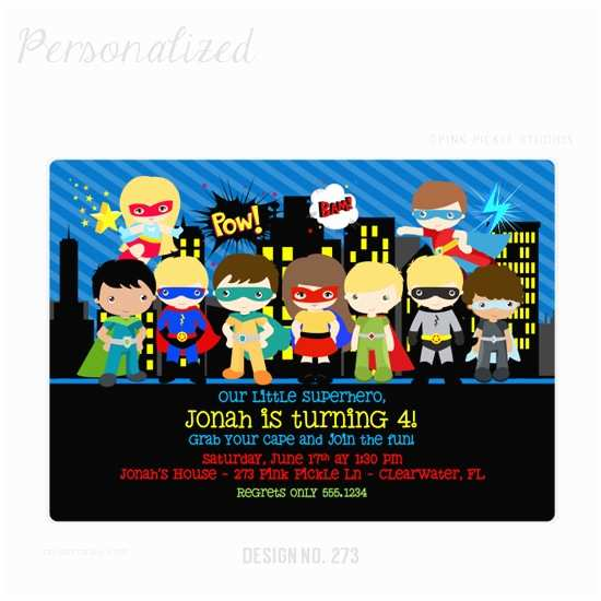 Personalized Party Invitations Personalized Superhero Birthday Invitations Jose