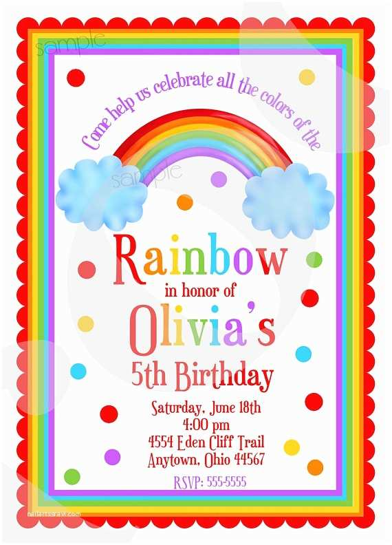 Personalized Party Invitations Rainbow Birthday Invitations Rainbow Birthday Party