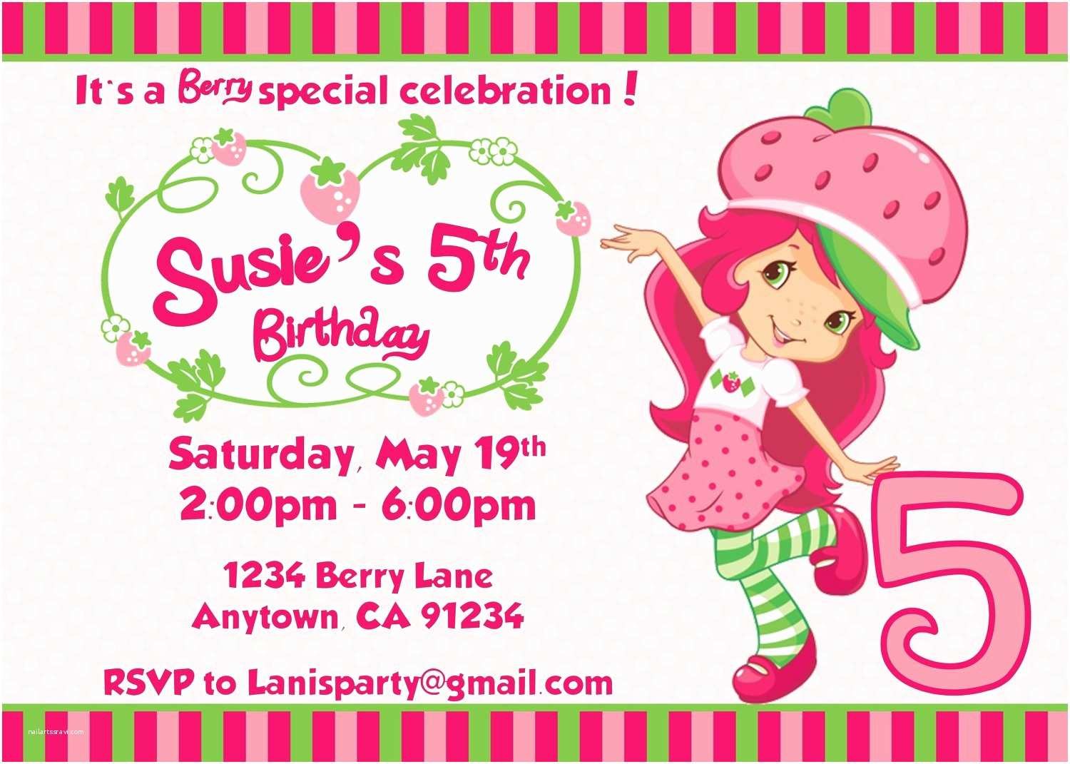 Personalized Party Invitations Strawberry Shortcake Personalized Birthday Invitations
