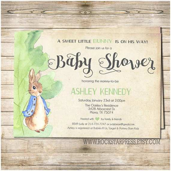 Peter Rabbit Baby Shower Invitations Peter Rabbit Baby Shower Invitation Digital File Printable