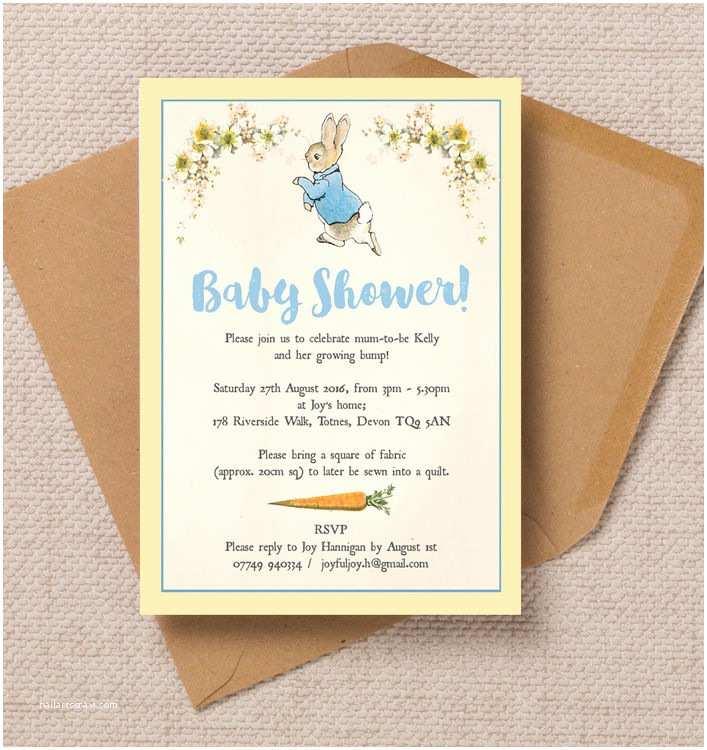 Peter Rabbit Baby Shower Invitations Peter Rabbit Baby Shower Invitation From £0 80 Each