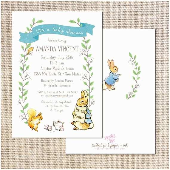 Peter Rabbit Baby Shower Invitations Peter Rabbit Baby Shower or First Birthday Invitation