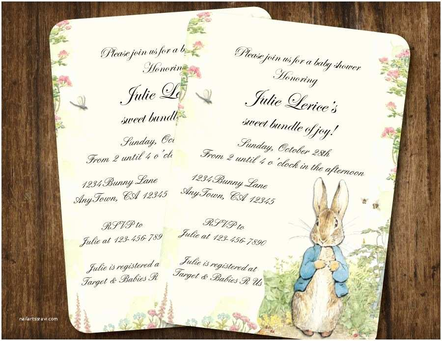 Peter Rabbit Baby Shower Invitations Peter Rabbit Vintage Style Baby Shower or Birthday Party